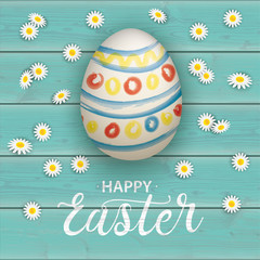 Happy Easter Egg Natural Turquoise Daisy Cover