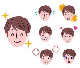 若い男性 顔 表情 セット