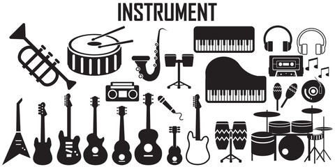 music, instruments  flat icons. mono vector symbol