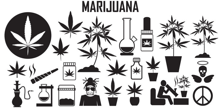 marijuana, cannabis, leaf, weed, medical, drug  flat icons. mono vector symbol