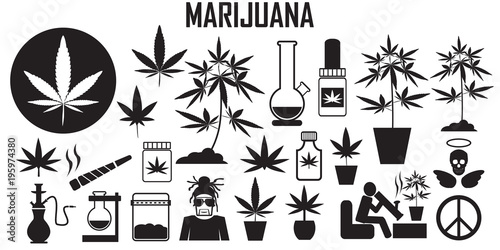Marijuana Cannabis Leaf Weed Medical Drug Flat Icons Mono