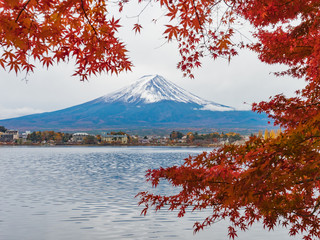 Deurstickers Rood paars Fuji mountain with red maple and cloudy in foreground .
