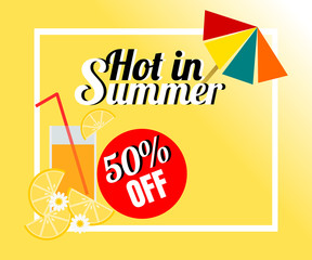 Summer background with juice and colorful beach umbrella. There is word 'Hot in Summer'. Illustration use for web banner, poster, flyer or product marketing and advertising.