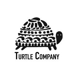 Turtle logo, black silhouette for your design
