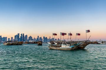 Looking across Doha Bay to the city of Doha in Qatar
