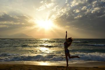 Girl enjoying the view of sea. summer vibe