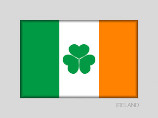 Ireland Flag with Shamrock. National Ensign Aspect Ratio 2 to 3 on Gray