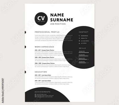 Creative Cv Resume Template Minimalist Black And White Vector
