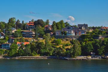 Swedish settlements on islets of Stockholm Archipelago in Baltic Sea, Sweden