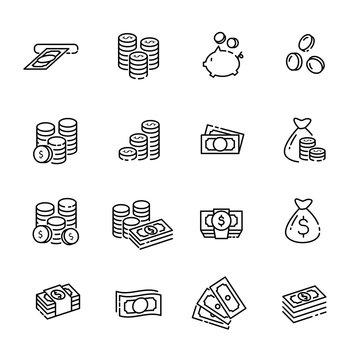 finance thin line icon set 1, vector eps10