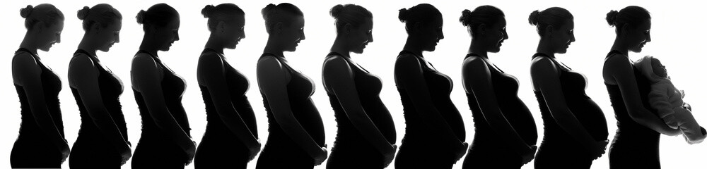 silhouette of a pregnant girl with white hair for nine months and at the end with a newborn