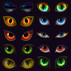 Cartoon eyes vector devil eyeballs of beast or monster and animals scary expressions with evil eyebrow and eyelashes illustration set of vampire eyesight isolated on black background