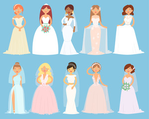 Wedding dresses on woman vector bride character and bridesmaid wearing white dressing accessories and bridal celebration illustration set of marriageable girl in marriage dress isolated on background
