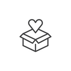 Open box and heart outline icon. Love gift linear style sign for mobile concept and web design. Cardboard box with heart simple line vector icon. Symbol, logo illustration. Vector graphics