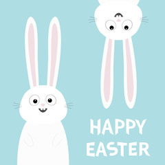 Happy Easter. White bunny rabbit set. Funny head face silhouette hanging upside down. Eyes, teeth, big long ears. Cute cartoon character Baby collection. Flat design Blue background
