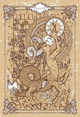 Vector Fantasy Zodiac sign Capricorn in gothic frame on texture. Hand drawn engraved illustration