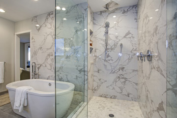 White and gray calcutta marble bathroom design