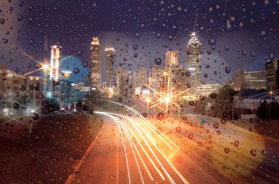 Blurred lights of city lights bokeh. City at night