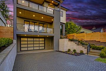 Luxury house entrance at sunset