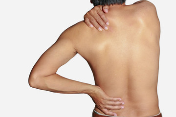 Back  muscle pain and  shoulder with health  problems of Office Syndrome in Working computer