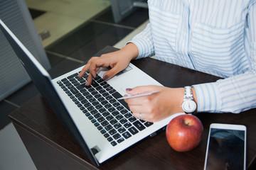 Online shopping, e-commerce, money transaction, internet business concept. Female businesswoman hold plastic credit card sit by laptop