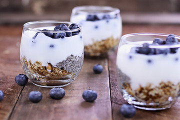 Tasty Kefir Yogurt and Chia Parfait