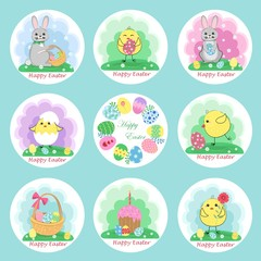 Set of Cute Easter stickers, insulated. Vector illustration.
