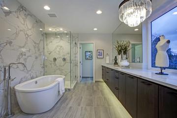 White and gray calcutta marble bathroom design