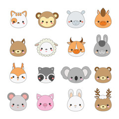 Cute animals faces. Big set of cartoon kawaii wildlife and farm animals icons