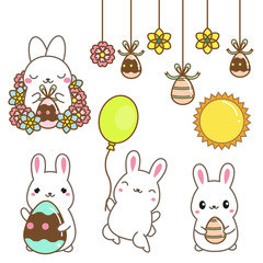 Cute cartoon bunnies. Easter rabbits with eggs and flowers. Isolated clip art for Easter design, stickers. Kawaii style