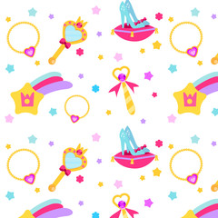 Princess party pattern. Vector background with girls design elements. Shoes, stars, mirror, necklace. For party invitations, gift wrapping, scrapbook papers