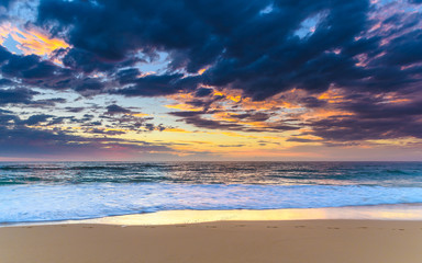 Sunrise Seascape at the Beach with Clouds