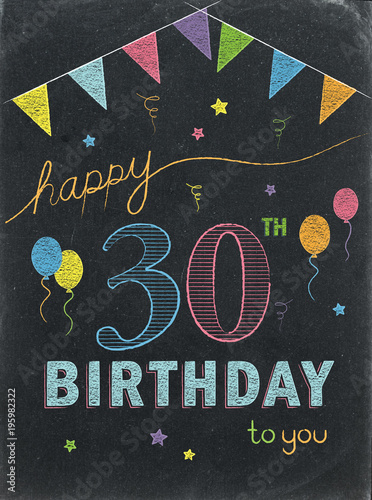 Happy 30th Birthday Chalkboard Card
