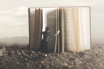 surreal image of a curious woman leafing through a giant book