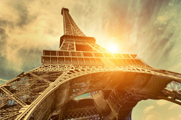 The Eiffel tower is one of the most recognizable landmarks in the world under sun light Wall mural