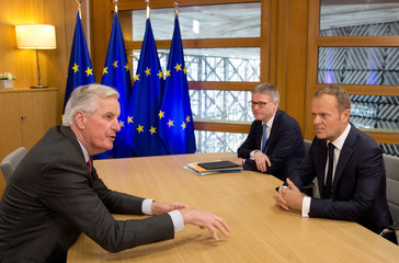 European Council President Tusk meets with European Union's chief Brexit negotiator Barnier at the EU Council headquarters in Brussels