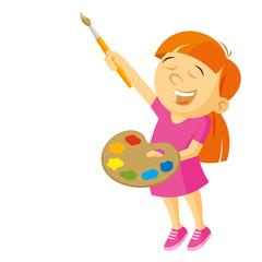 Artist girl vector illustration