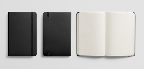 Photorealistic black leather notebook mockup on light grey background. Wall mural