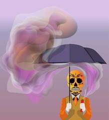 Skull holding an umbrella Vector illustration backgrounds