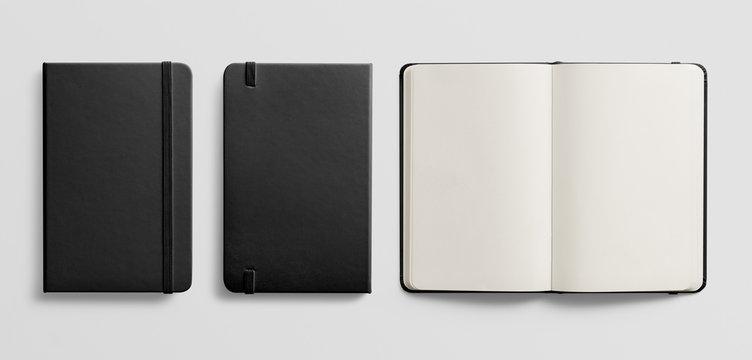 Photorealistic black leather notebook mockup on light grey background.