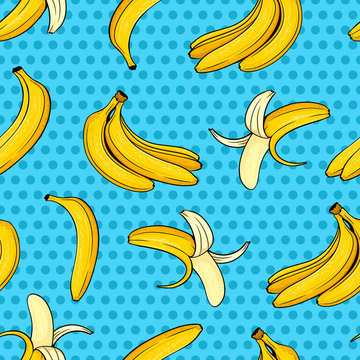 Different hand drawn yellow banana on blue dots background. Vector comic seamless pattern in pop art retro style.