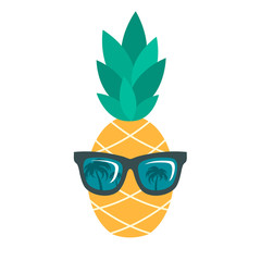 Icon of pineapple with sunglasses isolated on white background