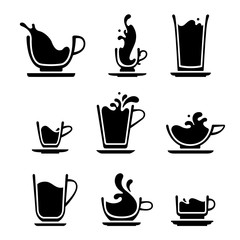 Set of splash silhouette cup of tea, coffee, water, milk or juice. Black and white icons. JPG include isolated path