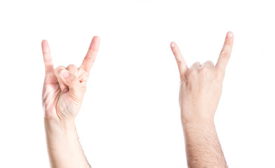 Set of hands gesturing heavy metal symbol, on white background.