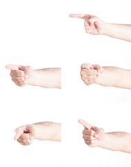 Set of pointing gesturing hands, on white background.