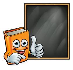 Cartoon Book Giving Thumbs Up and Blackboard