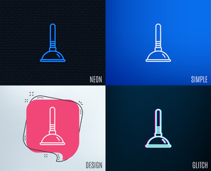 Glitch, Neon effect. Cleaning plunger line icon. Ð¡leaning of pipe clogs symbol. Housekeeping equipment sign. Trendy flat geometric designs. Vector
