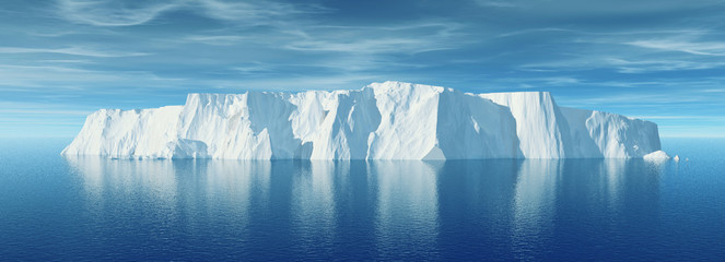 View of iceberg with beautiful transparent sea