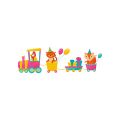 Funny parrot, tiger and fox with balloons on train. Gift boxes in little wagon. Cartoon animals characters. Colorful flat vector design for print, poster or greeting card