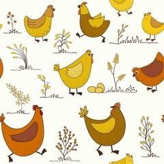 Seamless pattern with cartoon chicken
